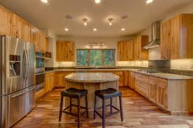 Solid Wood Kitchen Furniture Furniture Large Hickory Kitchen With U Shaped Brown Solid Wood