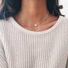 women choker necklace images New tiny heart necklace for women short chain heart shape pendant jpg