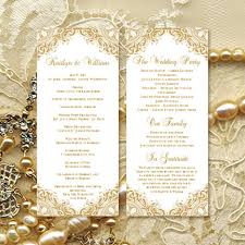 wedding anniversary program wedding ceremony program template vintage gold