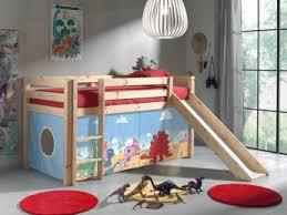 chambre enfant toboggan lit mezzanine enfant avec toboggan en pin massif naturel dinosaure