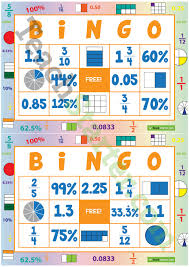 fraction decimal and percentage bingo teaching resource u2013 teach
