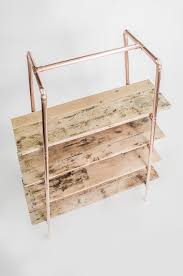 free standing copper pipe reclaimed wood shelving