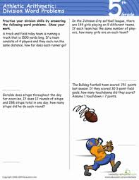 athletic arithmetic division word problems worksheet