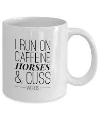 animal mug amazon com horse mugs i run on caffeine horses and cuss words
