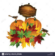 thanksgiving vector autumn composition with pumpkin and fall