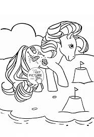 pony on the beach coloring page for kids for girls coloring pages