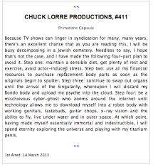 The Big Bang Theory End Credit Vanity Cards Chuck Lorre U0027s Vanity Card 411 From The Big Bang Theory Death Is