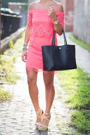 coral crochet dress a southern drawl