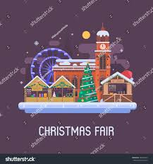 fair winter town square traditional stock vector