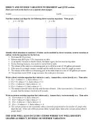 direct and inverse variation worksheet astronomical unit ratio