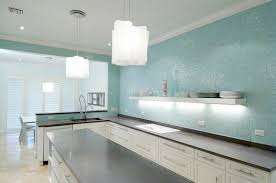 Kitchen Backsplash Glass Tiles Turquoise Glass Tile Backsplash Contemporary Kitchen