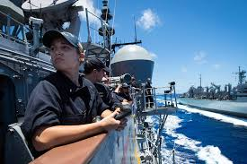 uss mobile bay cg 53 conducts replenishment at sea navy live