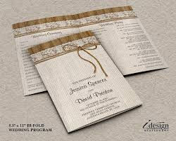 burlap wedding programs rustic wedding program with burlap lace and twine on brown barn