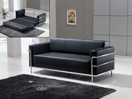 Contemporary Black Leather Sofa Le Corbusier Style Black Leather Sofa Sleeper Apartment