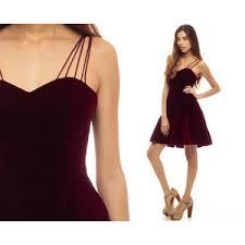 red velvet dress mini 90s party skater rink sweetheart neckl
