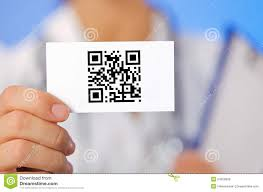 Business Card With Qr Code Doctor Holding Business Card With Qr Code Royalty Free Stock