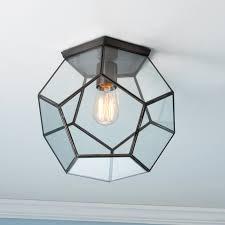 clear glass prism pentagon ceiling light shades light