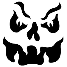 Free Scary Halloween Pumpkin Stencils - skull on flames free scary halloween pumpkin carving patterns