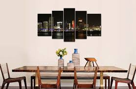 amazon com 5 piece wall art painting miami with blue bridge and