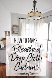 how to make diy no sew bleached drop cloth curtains without making