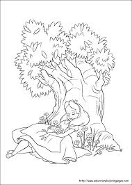 alice wonderland coloring pages free kids