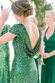 emerald green sequined drape back bridesmaid dresses gold