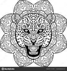 coloring page for adults stern jaguar on a background of a