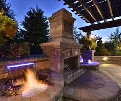Backyard Water Fountain by Outdoor Fireplaces With Water Feature Outdoor Fireplaces