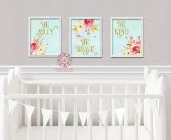 be silly kind brave set boho nursery decor baby girl wall art be silly kind brave set boho nursery decor baby girl wall art watercolor floral printable print