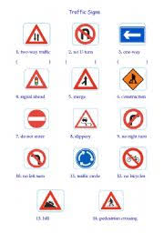 traffic signs worksheet by sandy chang