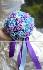 purple and blue wedding new style handflower wedding bouquet artificia 30 flower blue