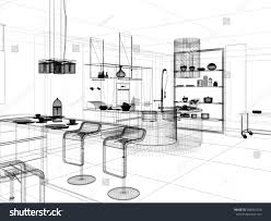 linear kitchen 3d linear kitchen interior stock illustration 288442556 shutterstock