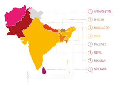 South Asia Political Map by Unicef South Asia 2016 Progress Report