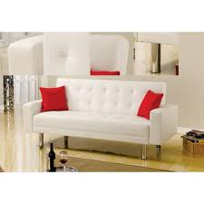 white leather futon sofa best master furniture modern comfort soft white faux leather arm
