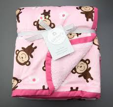 Sock Monkey Baby Bedding Carter U0027s Cozy Baby Blanket Monkeys U0026 Flowers Pink Size