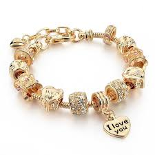 gold charm bracelet beads images Gold charm bracelet for women 2017 owl heart beads windy city jpg