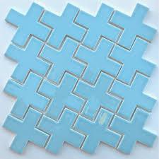 light blue ceramic plus sign mosaic splash 4