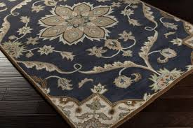 Navy Blue And Beige Area Rugs by Cae 1113 Rug From Caesar By Surya Plushrugs Com