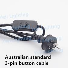 australian standard 3 pin plug with button switch cable power wire