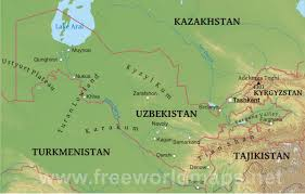World Map Of Deserts Uzbekistan Physical Map