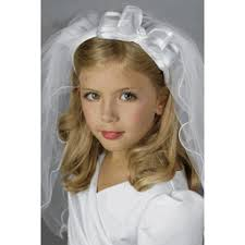 1st communion veils communion veil satin headband organza bow