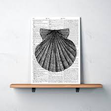 nautical decor for home and office seashell print over dictionary