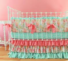 Roses Crib Bedding Custom Baby Bedding Set With Pink Floral White And Beige