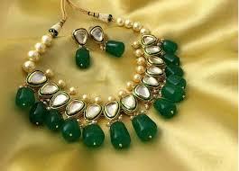 green stones necklace images Kundan necklace set green stones fashion jewelery jewellery jpg