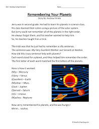 remembering your planets reading comprehension worksheet