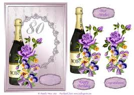 chagne and flowers 80th birthday decoupage card comes w