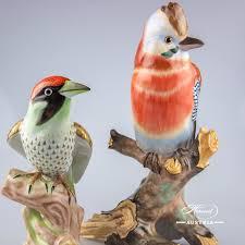 bird green woodpecker herend figurines herend porcelain animals