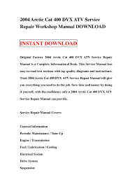 2004 arctic cat 400 dvx atv service repair workshop manual download