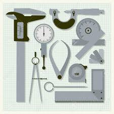 measuring instruments on graph paper conceptual vector set