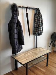 Entryway Storage Bench With Coat Rack Furniture Rustic Entryway Bench With Standing Coat Rack Featuring